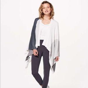 Lululemon Hatha Wrap Sweater Gray White